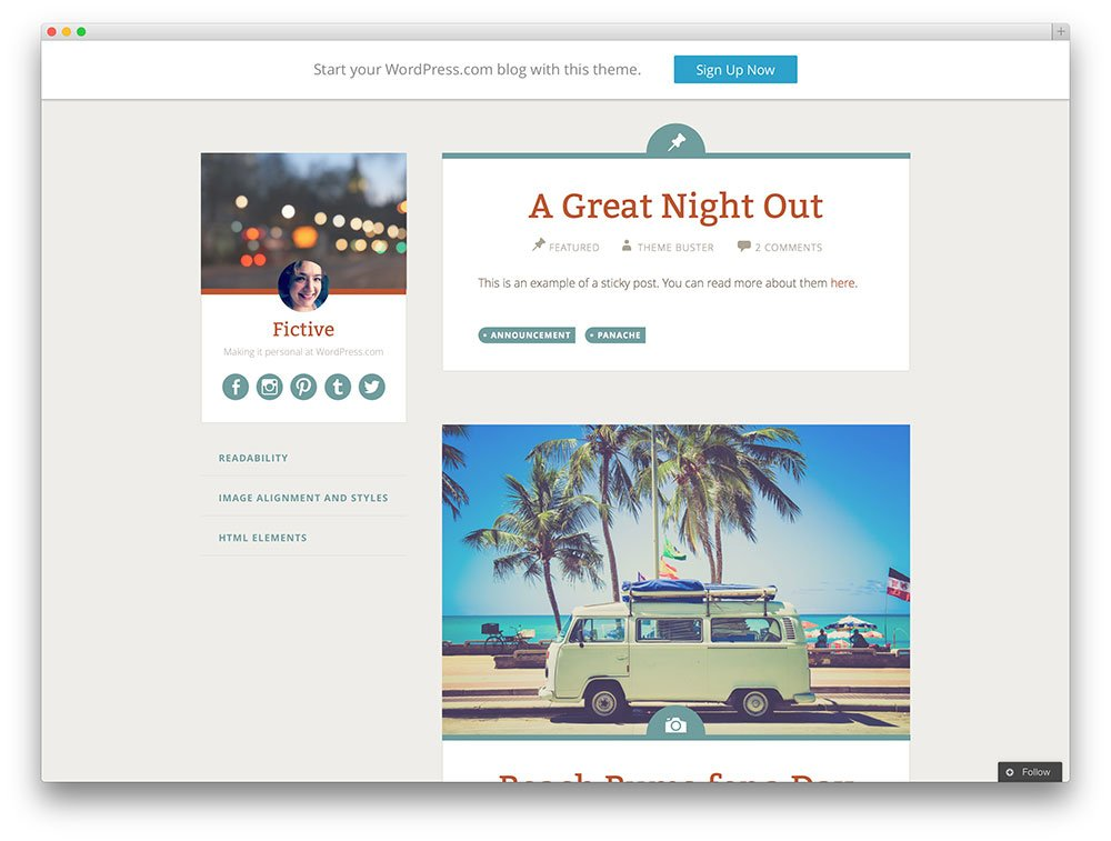 fictive travel blog theme
