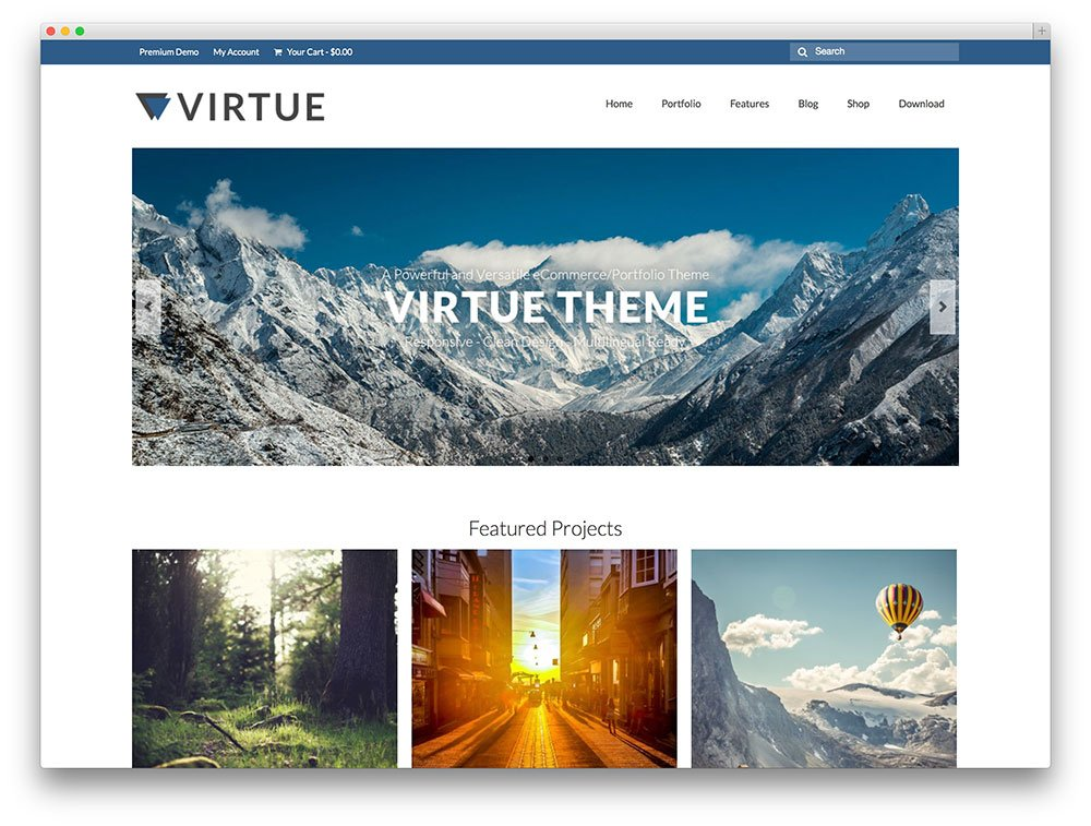 virtue travel portfolio wp theme