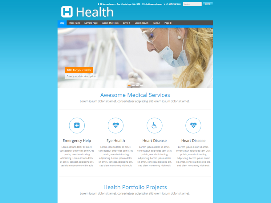 health medical clinic wordpress theme